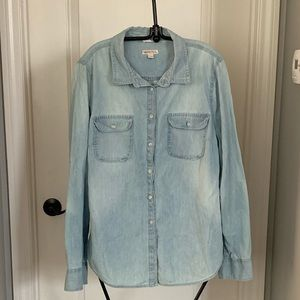 Stone wash button down shirt